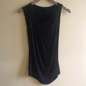 Tahari asymmetric rolled neck black sleeveless top